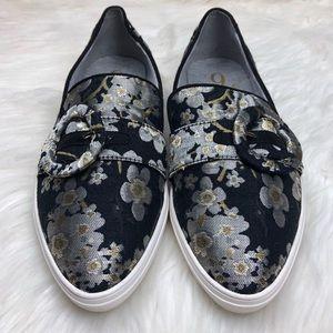 Nine West metallic floral slip on sneakers